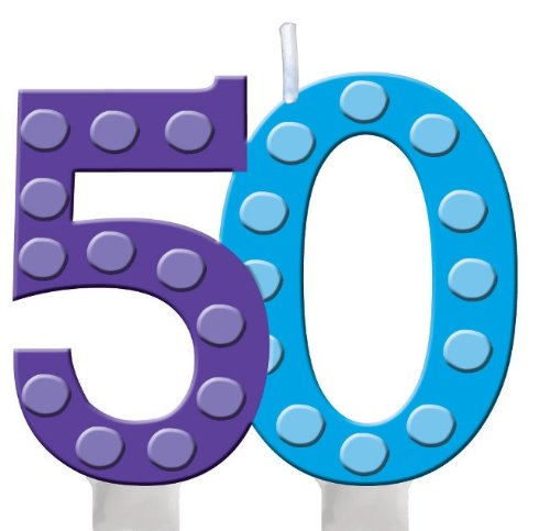 Creative Converting Bright and Bold 50th Birthday Molded Numeral Cake Candle