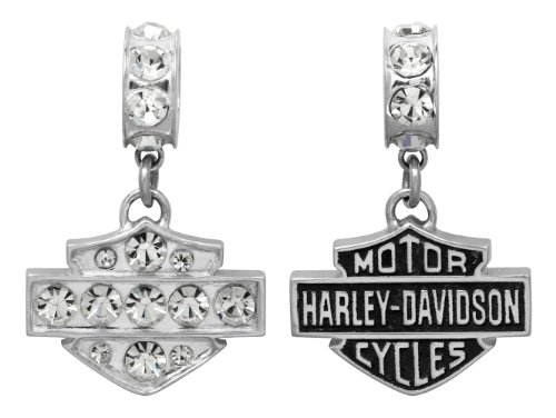 Harley-Davidson .925 Silver Clear Crystal Ride Bead Pendant
