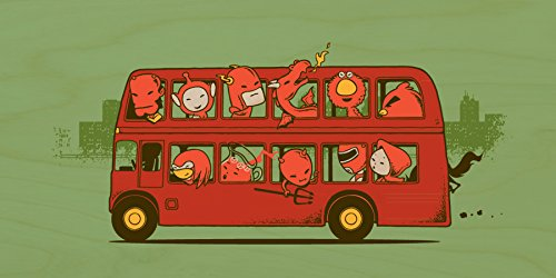 """""""Red Trip In London"""" Funny Red Character Parody In Double Decker Bus - Plywood Wood Print Poster Wall Art front-633566"""