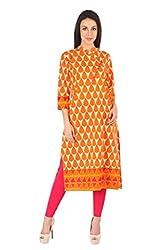 Indibelle Orange Leaf Printed Cotton kurta