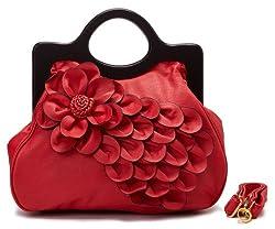 Scarleton Rose Wood Handle Handbag H1208