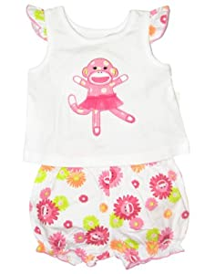 Baby Girl 2 Piece Flower Power Sock Monkey Shirt and Diaper Cover Outfit
