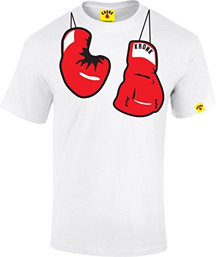 Kronk Guanti di difensore civico per il calcio a sospensione da parete a forma di uomo Boxe Hitman Hearns Klitschko T-Shirt bianco Medium