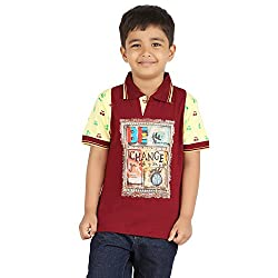 MERIL Boy's Maroon Color Tshirt