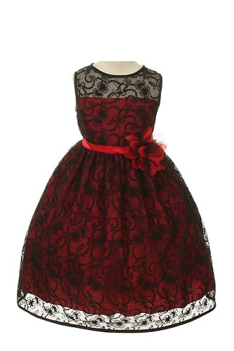 Girl'S Elegant Flower Girl Party Holiday Dress - Black Lace/Red 4