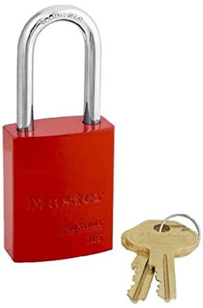 "Master Lock Aluminum Lockout/Tagout Padlock, Keyed Alike, 1-3/4"" Body Length, 1-9/16"" Shackle Clearance"
