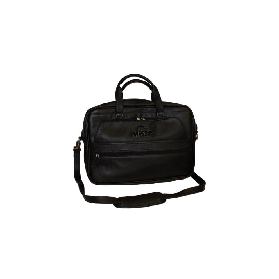 Debossed Black Leather Laptop Bag San Diego Chargers