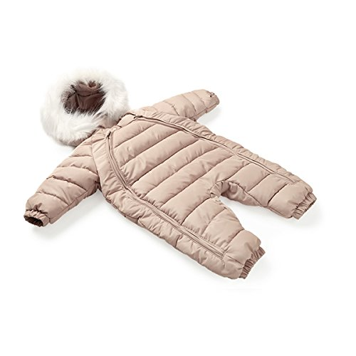 100% Down Cotton Baby Romper Winter Coat Cute Baby Snowsuit for 0-24 Months Baby (Medium(8-15months), Khaki)