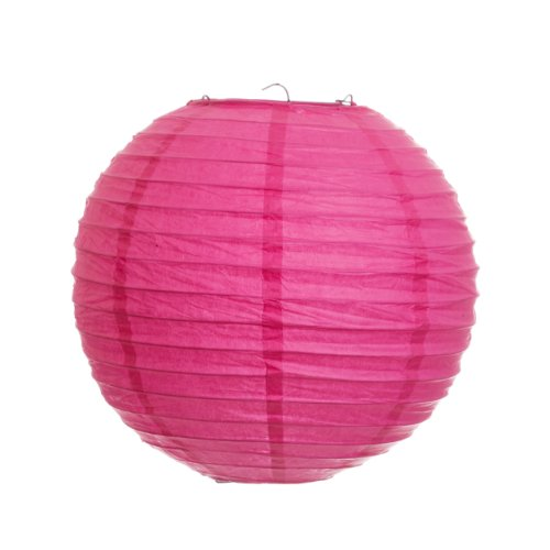 Koyal 12-Inch Paper Lantern, Fuchsia, Set of 6