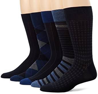 Cole Haan Men's Ticking Argyle 5 Pack Sock, Navy, One Size