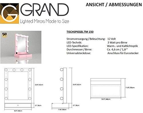hollywoodspiegel schminkspiegel tm150 schwarz mit led. Black Bedroom Furniture Sets. Home Design Ideas
