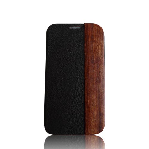 Olina Handmade Natural Hard Wood & Genuine Leather S-view Flip Cover Folio Case Wallet Case Cover for Samsung Galaxy S4 S Iv 9500 I9500 (Rosewood)