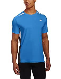 New Balance Men's Momentum Short Sleeve T-Shirt - Blue, Medium
