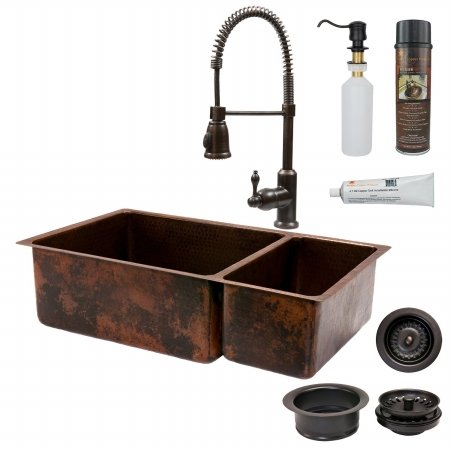 Premier Copper Products KSP4-K75DB33199 33 in. Kitchen 75-25 Double Basin Sink with Spring Pull Down Faucet