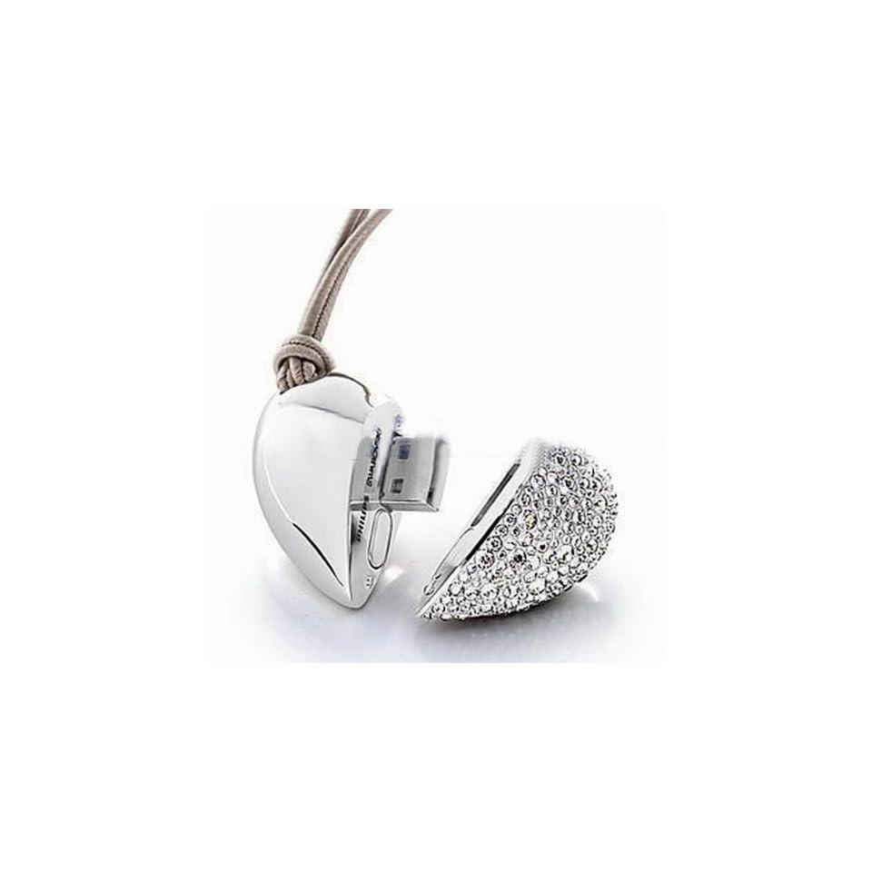 Primeshop 8GB Stylish Metal USB Flash Drive Memory Stick, Silver Heart Shaped