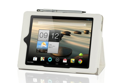 "IVSO® Acer Iconia A1-810 7.9"" Leder Hülle Case Folio Tasche Cover mit Ständer + 1Stück Kapazitive Stylus / Taster Touch Screen Handy Tablet Pen für Acer Iconia A1-810 Tablet PC 8GB/16GB (Für Acer Iconia A1-810, Weiß)"