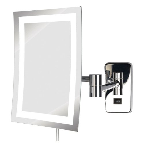 See All Hledcsa69 Frameless Led Lighted Rectangular Wall Mounted Makeup Mirror 5X, Chrome front-753830