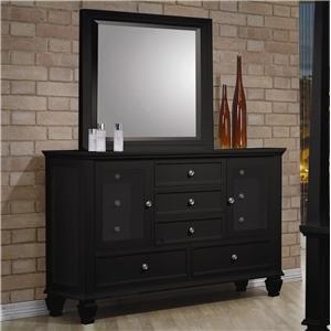 miami shores black dresser and mirror set coaster 201323set kitchen dining. Black Bedroom Furniture Sets. Home Design Ideas