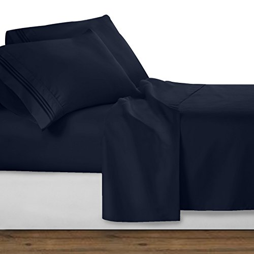 Clara Clark 1800 premier Series 4pc Bed Sheet Set - Queen, Navy Blue,