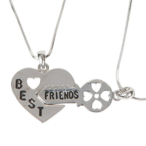 "Heirloom Finds Heart With Key 2 Pc Best Friends Bff Pendant Necklace Set 16"" Snake Chain With Extender"