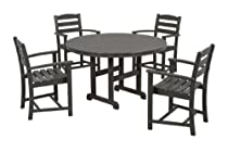 Hot Sale POLYWOOD PWS132-1-GY La Casa Café 5-Piece Dining Set, Slate Grey