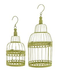 Deco 79 Metal Round Bird Cage, 19 by 15-Inch, Green, Set of 2 by UMA Enterprises, Inc.