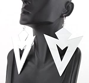2 Pairs of Mirrored Silver Upside Down Sharp Triangle Cut Out Style Acrylic Dangle Earrings