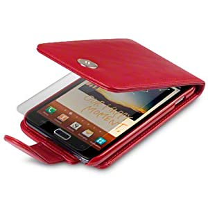 RED SAMSUNG GALAXY NOTE PU LEATHER FLIP CASE / COVER / POCKET / POUCH, WITH SCREEN PROTECTOR