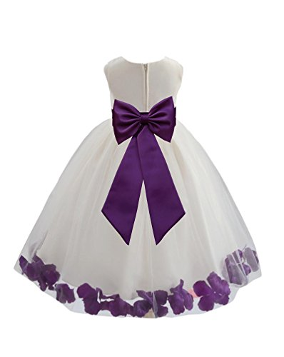 Wedding Pageant Flower Petals Girl Ivory Dress with Bow Tie Sash 302a 2