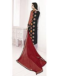 Black And Red Printed Georgette Unstitched Salwar Kameez