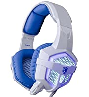 Sades SA-806 USB 3.5mm Professional Stereo Gaming Headphone Blue Led Lighting Headsets with Microphone for Laptop PC(White-Blue)