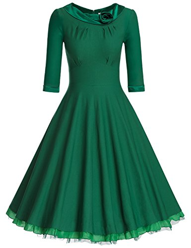 MUXXN Women's 1950s Vintage 3/4 Sleeve Rockabilly Swing Dress(2XL,Green)