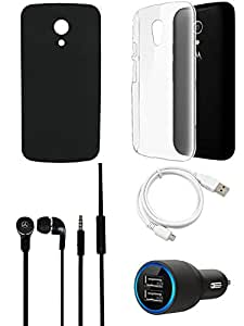 NIROSHA Cover Case Car Charger Headphone USB Cable for Motorola G2 - Combo