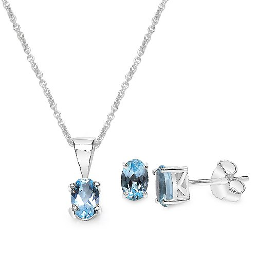 1.68 Carat Blue Topaz Oval Shape .925 Sterling Silver Earring & Pendant Set