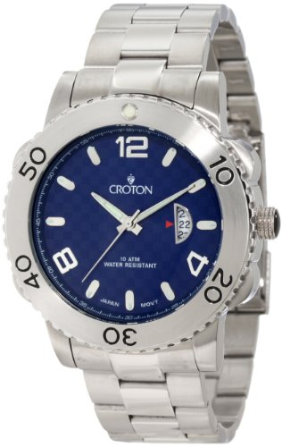 Croton Men's CA301223SSBL Aquamatic Blue Checkerboard Dial Stainless Steel Watch