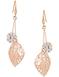 Riana Cz Crystals Rose Gold Plated Hollow Leaf Drop Earrings