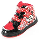 Girls Minnie Mouse Hearts Hi Top Black Trainers