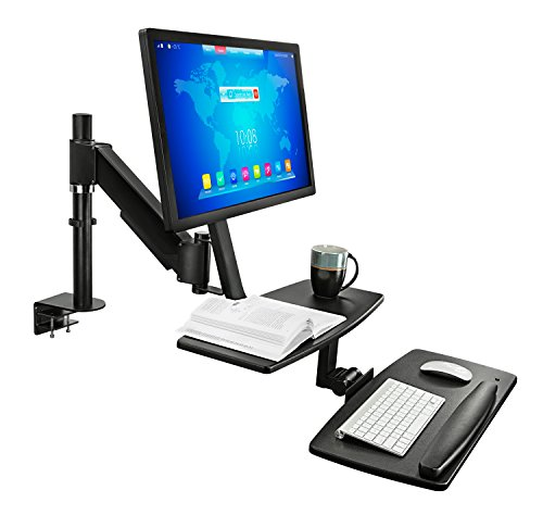 Mount-It! Sit-Stand Desk Workstation, Height Adjustable Standing Desk, Ergonomic, Monitor, Laptop, and Keyboard Mount, 22