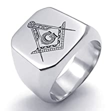 buy Mens Wedding Bands Stainless Steel Freemason Masonic 19Mm Silver Size 10 By Aienid