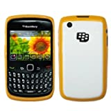 Hybrid Gel+Hard Shell Case / Skin / Cover (Orange/White) for BlackBerry Curve 3G 9330 / 9300 / 8520 / 8530