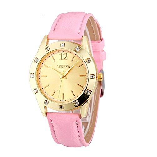 Amlaiworld Orologio da polso per Donne, Orologi di Ginevra moda Diamond in pelle (rosa)