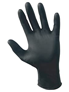 SAS Safety 66517 Raven Powder-Free Disposable Black Nitrile 6 Mil Gloves, Medium, 100 Gloves by Weight