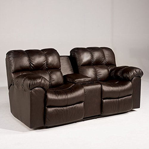 Famous Collection Chocolate Double Reclining Loveseat W Console By Famous Brand Furniture