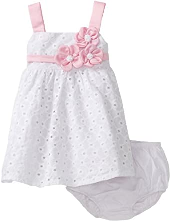 Amazon.com: Bonnie Baby Girls Infant Satin Flowers On ...