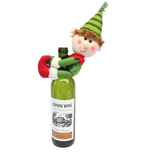 Ikevan Hot Selling Christmas Products Household Decoration Christmas Snowman Wine Bottle Cover Bags 12x25cm (A)