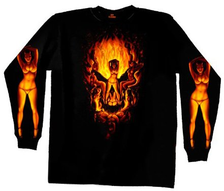 Hot Leathers Devil Chicks Make Skull Long Sleeve T-Shirt (Black, X-Large)