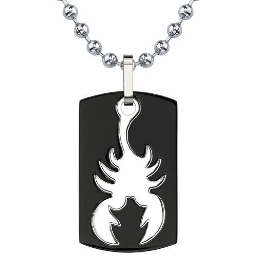 Peora Bold and Passionate: Dog Tag Gunmetal finish Titanium Pendant for Men with Scorpion Design on a Steel Ball Chain