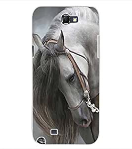 ColourCraft White Horse Design Back Case Cover for SAMSUNG GALAXY NOTE 2 N7100