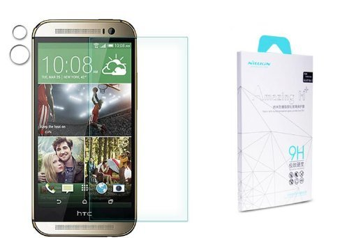 Nilkin Hardness Tempered Glass Front Lcd Screen Protector For Htc One/M8 - Retail Packaging - Clear