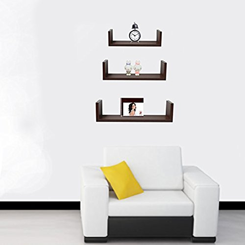 Halter Wall Shelves - Set of 3 U Shaped Floating Shelves